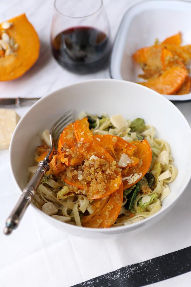 Rezept Pasta mit Kürbis und Wirsing