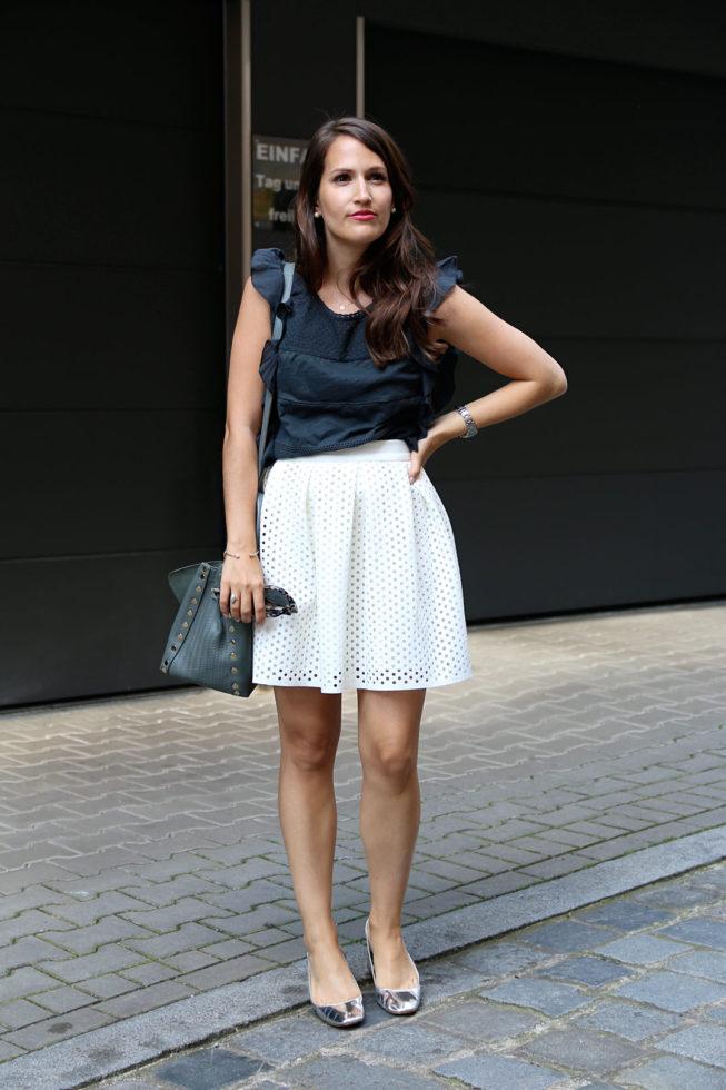 Sommerlook mit Volant-Top,Zanellato Postina Tasche und silbernen Granny-Shoes, Fashionblog Nürnberg