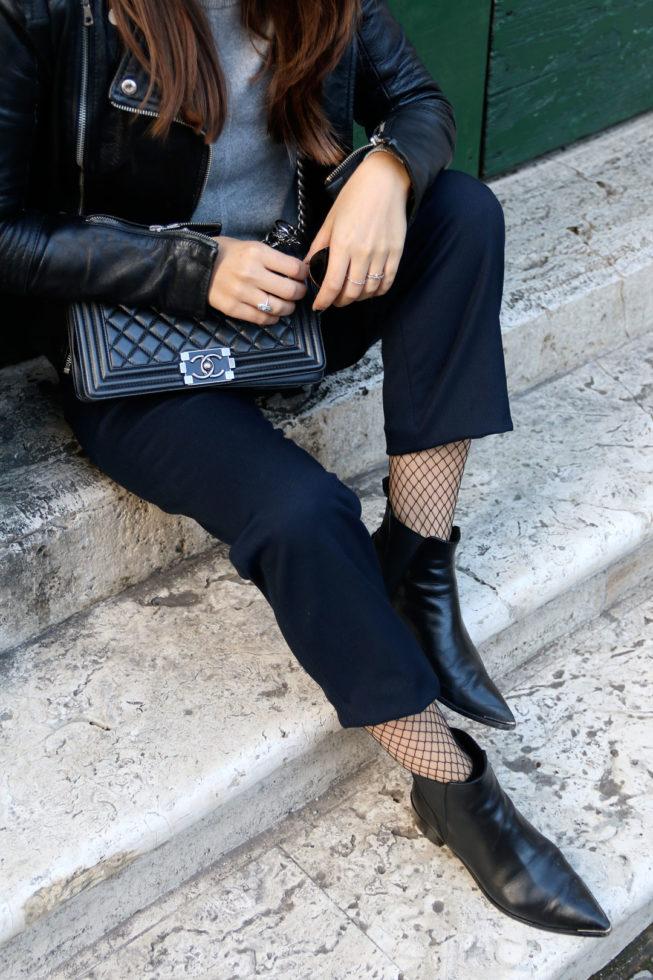 Grauer Cashmerepullover und Culotte mit Netzstrümpfen, Modeblog Nürnberg, Streetstyle Rom