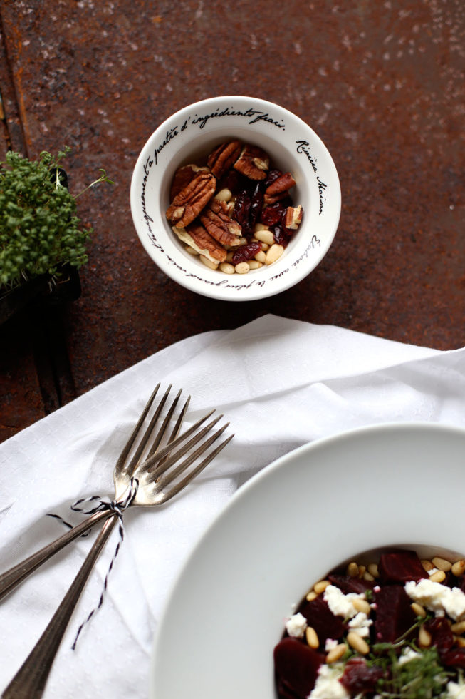 Rote Beete Salat mit Kresse und Cranberries