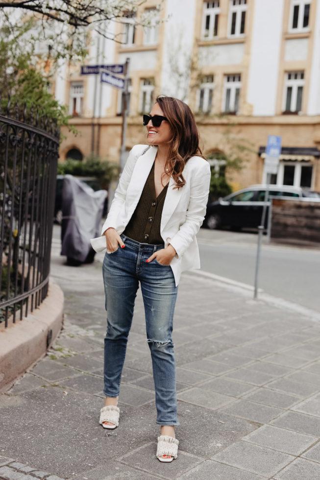 Outfit: Weißer Blazer