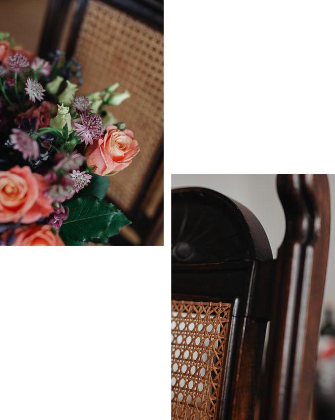 Pieces Of The Week 306, Osterblumenstrauß von Bloom & Wild auf einem Stuhl mit Wiener Geflecht