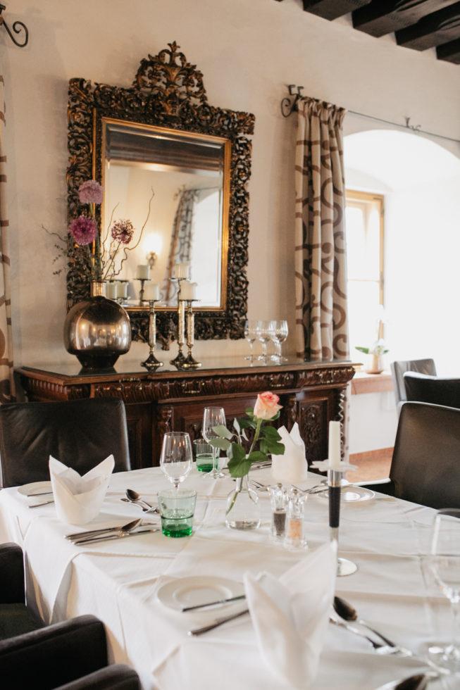Abendessen im Restaurant auf Schloss Mittersill