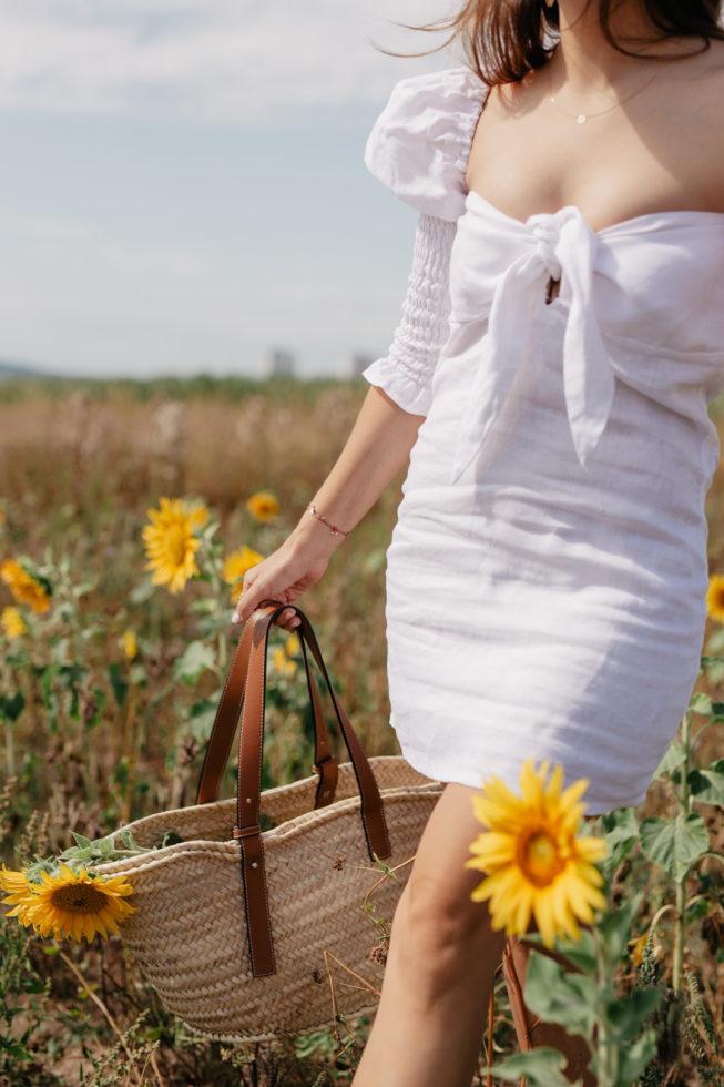 Leinenkleid von Posse mit Puffärmeln, Blog Your Style | Geflochtene Sommertaschen