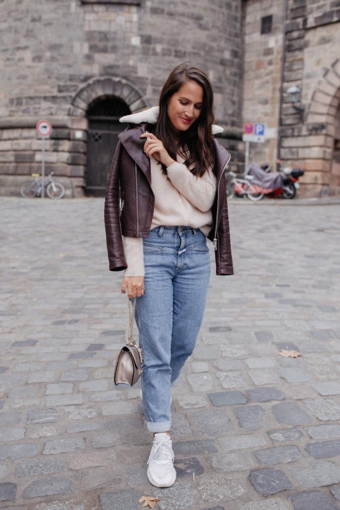 Herbstliches Outfit mit Maje Lederjacke
