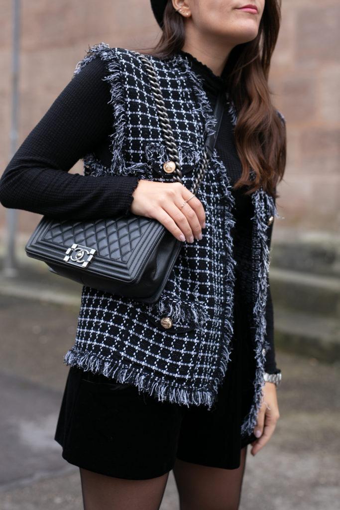 Outfit mit Tweedweste
