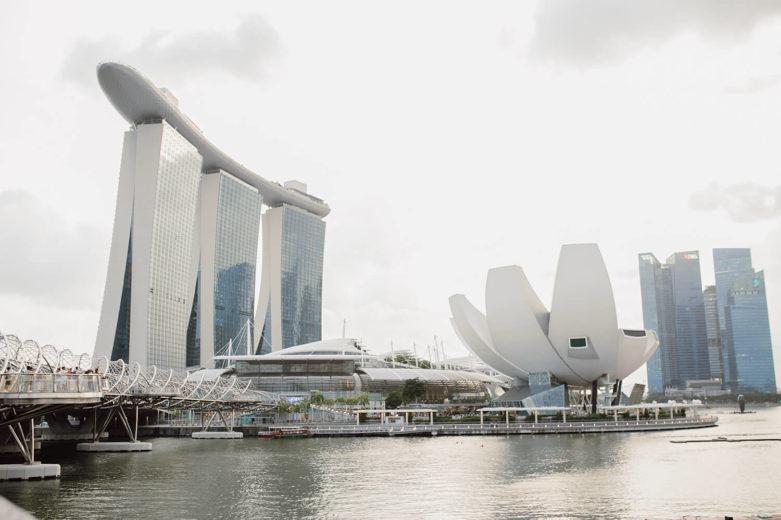 Blick auf die Marina Sand Bay in Singapur